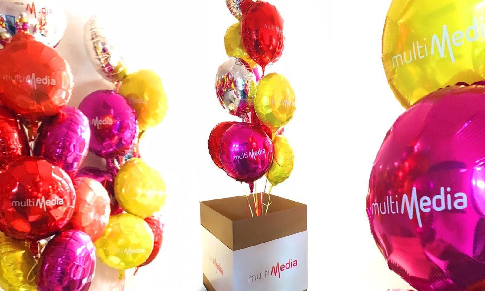 Multimedia różnokolorowe balony