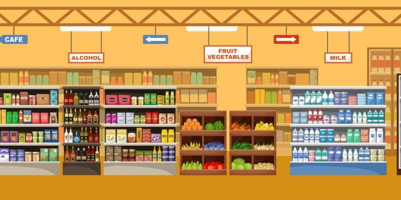 Rysunek supermarketu z produktami